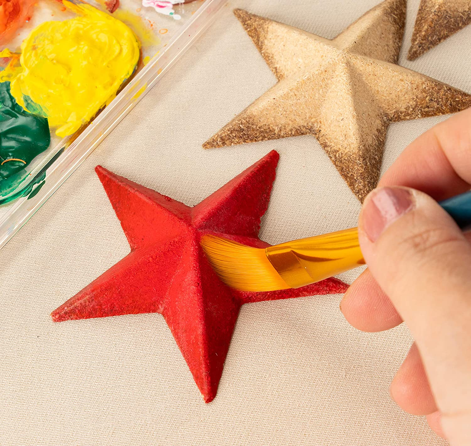 Party 4.5 x 4.5 x 1 Inches Wood Cutouts 12-Pack Flat 3D Wood Stars Star Shaped Wood Pieces Home Decoration Christmas Tree for Craft DIY Classroom Projects Unfinished Wood Half 3D Stars