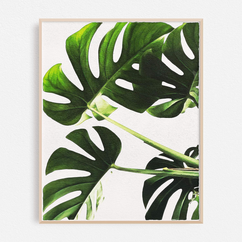 Amazon com tropical leaves wall decor poster original watercolor painting print boho minimalist botanical contemporary wall art dark green leaf