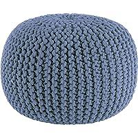 Sweet Needle - Handgebreide Twisted Cable Style Ronde Dori Poef, Floor Ottoman, Elektrisch Blauw, Katoen Vlecht Cord…