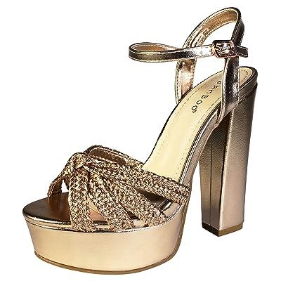BAMBOO Women's Braided Strap Chunky Heel Platform Sandal with Quarter Strap   Sandals