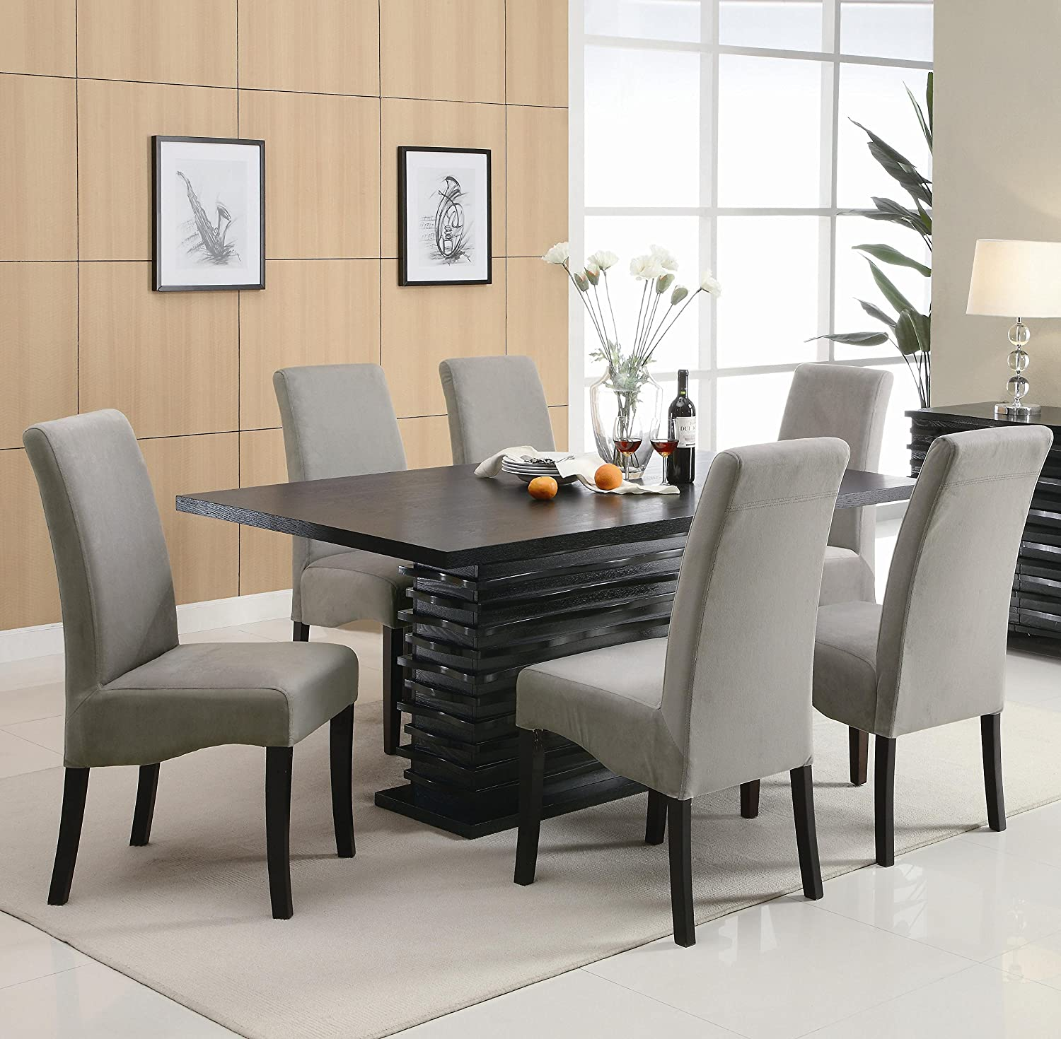 Amazon Com Coaster Home Furnishings Stanton Contemporary Dining Set With Dining Table 6 Grey Dining Chairs And Server In Black Table Chair Sets
