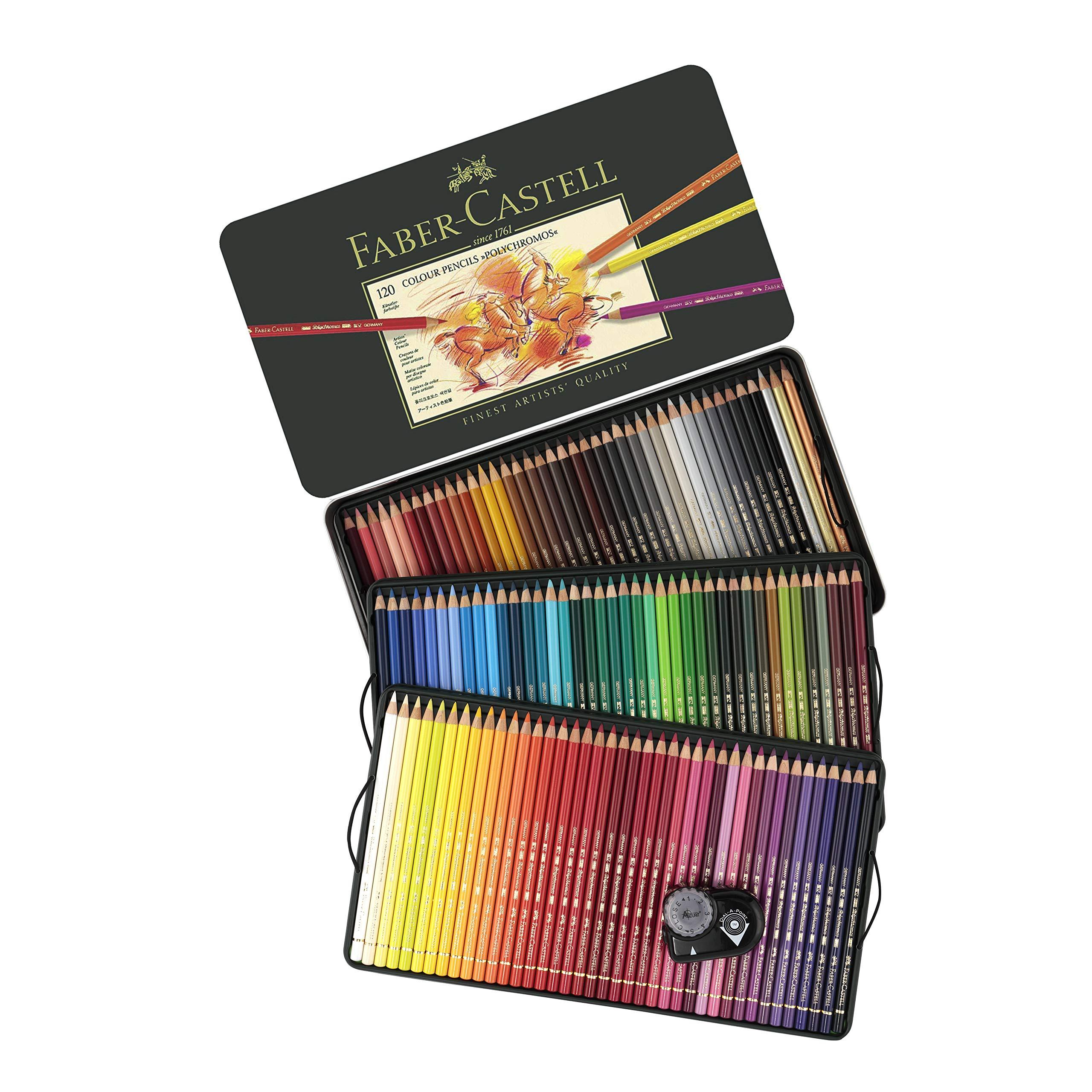FaberCastell Polychromos Artist Colored Pencils Set - Tin of 120 Colors - Premium Quality Polychromos Colored Pencils 120 Set Art Supplies Set for Arts and Crafts Includes Pencil Sharpener