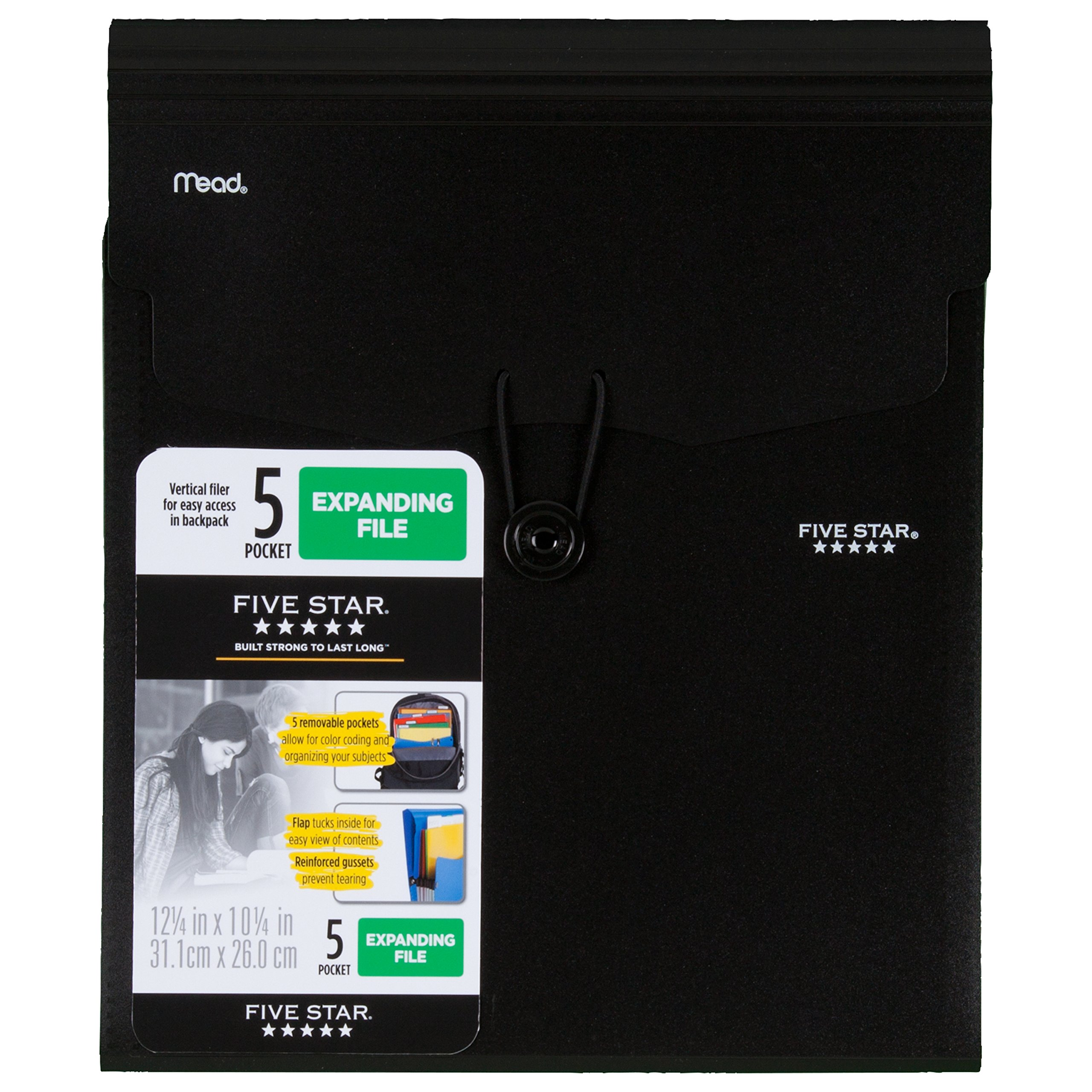 Five Star Expanding File Folder, 5-Pocket Vertical Expandable File Folder, Black (72697)