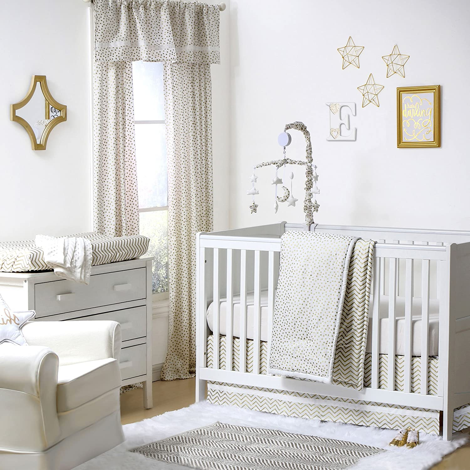 Gold Dot and Chevron Zig Zag 4 Piece Baby Crib Bedding Set by The Peanut Shell by The Peanut Shell