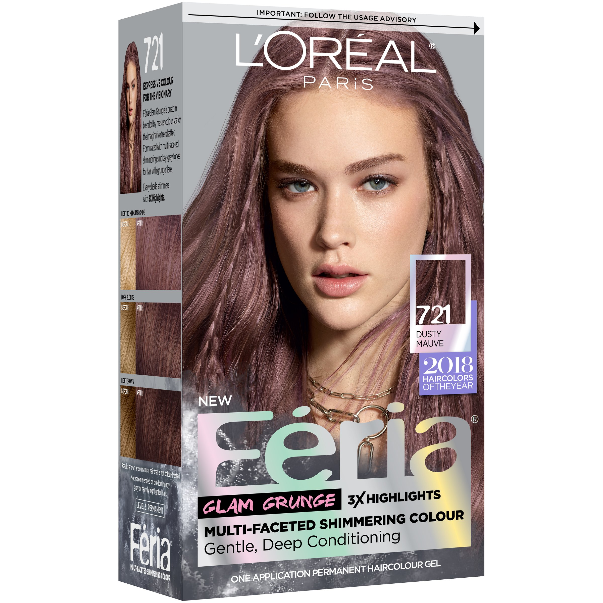 Feria Dusty Mauve Hair Color Permanent Shimmering Pink Purple DIY ...