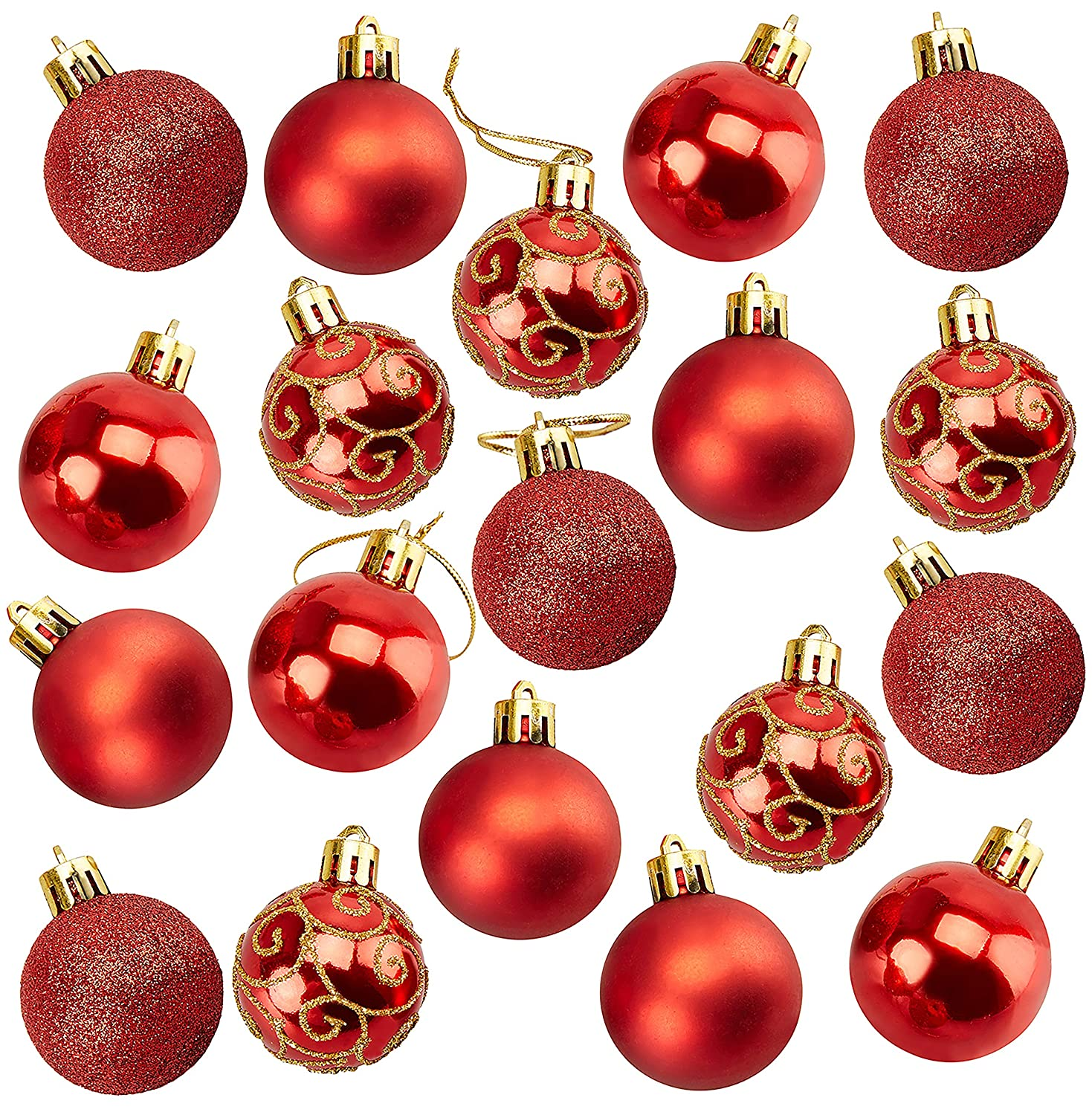 Christmas Balls.Juvale 36 Pack Christmas Tree Ornaments Red Shatterproof Medium Christmas Balls Decoration Assorted 4 Finish Shiny Matte Glitter Glitter Scroll