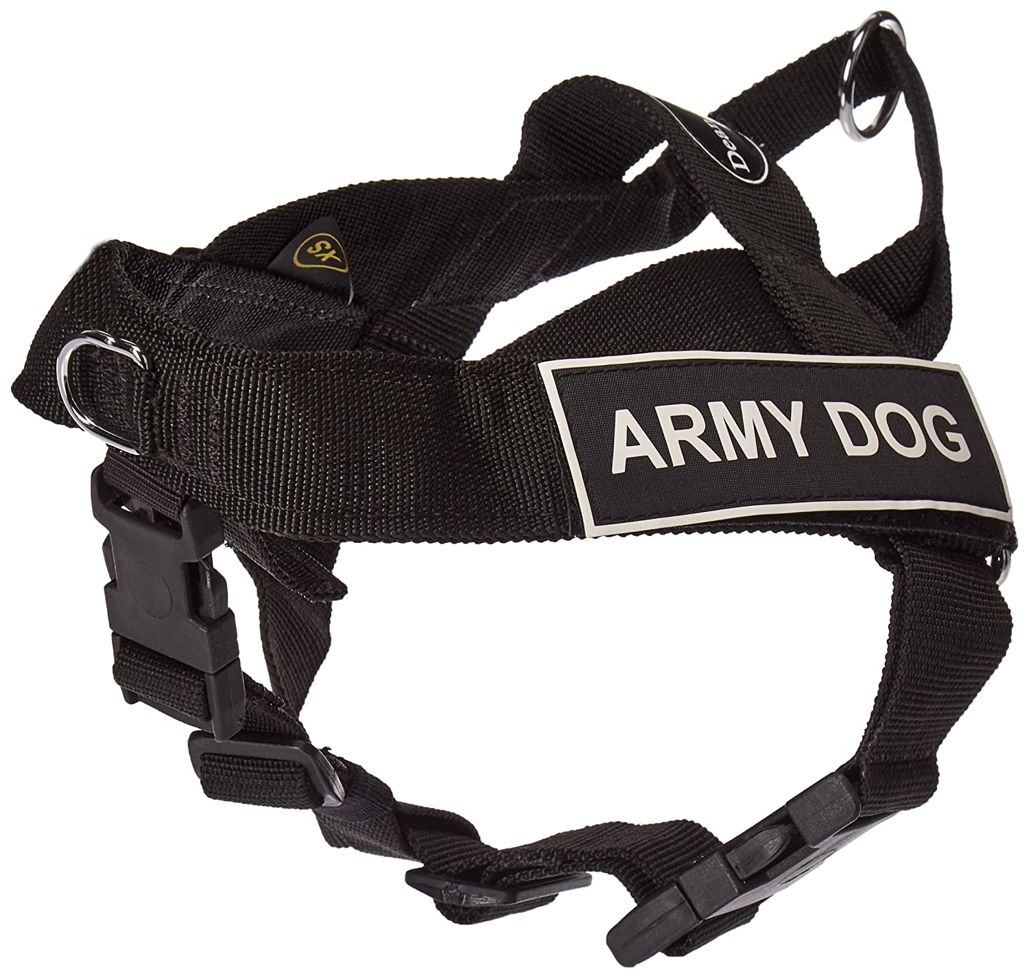 Dean & Tyler Universal No Pull 21-Inch to 25-Inch Dog Harness, X-Small, Army Dog, Black