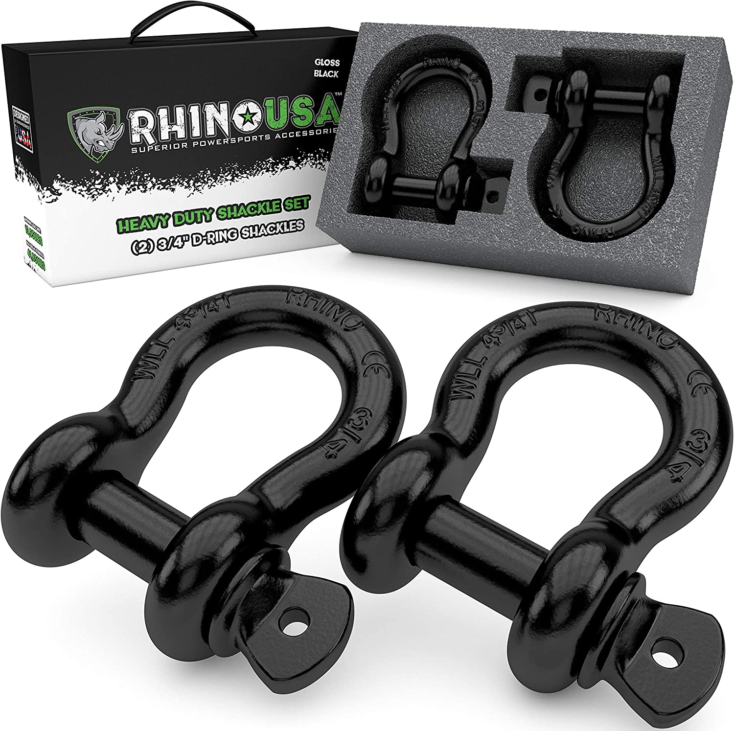 Hauling Stump Removal /& Much More - Shackle for Vehicle Recovery Best Offroad Towing Accessory for Jeeps /& Trucks!/… 41,850lb Break Strength Rhino USA Combo D Ring Shackles /& 20 Tow Strap