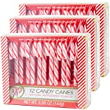 Candy Cane Peppermint Flavored | 12 Pieces in Each Box - Net 5.08 Oz Pack of 3 - 36 Total Count | Individually Wrapped (Peppermint)