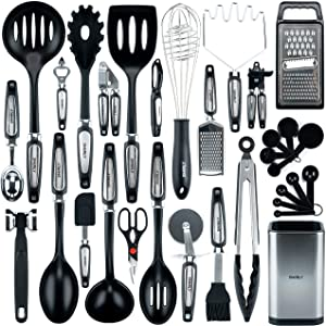 Smirly Silicone Kitchen Utensils Set with Holder: Silicone Cooking Utensils Set for Nonstick Cookware, Kitchen Tools Set, Silicone Utensils for Cooking Set Kitchen Set for Home Kitchen Accessories Set