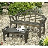 Lutyens Bench and Garden Table Grey Oiled Finish Lutyens Style Garden Furniture Solid FSC Acacia Hardwood Patio Set