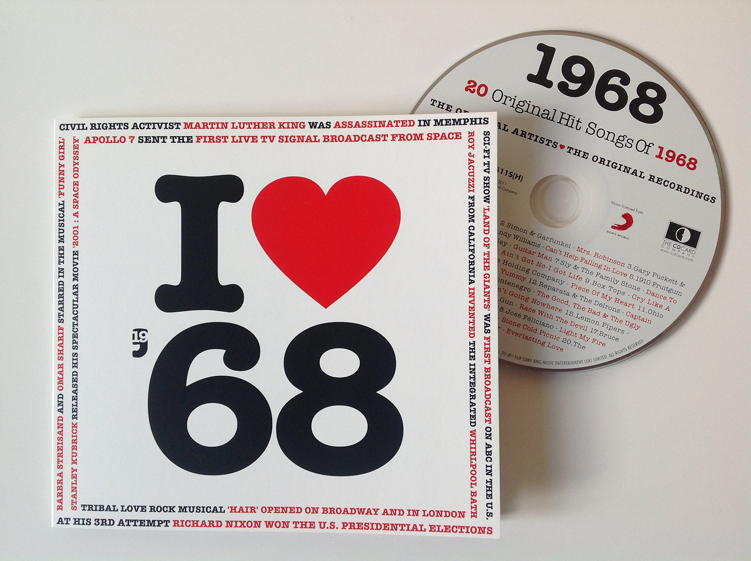 1968 BIRTHDAY or ANNIVERSARY GIFT - I Love 1968 Compilation Music Hits CD - 20 Original Songs - 1968 Year Greeting Card