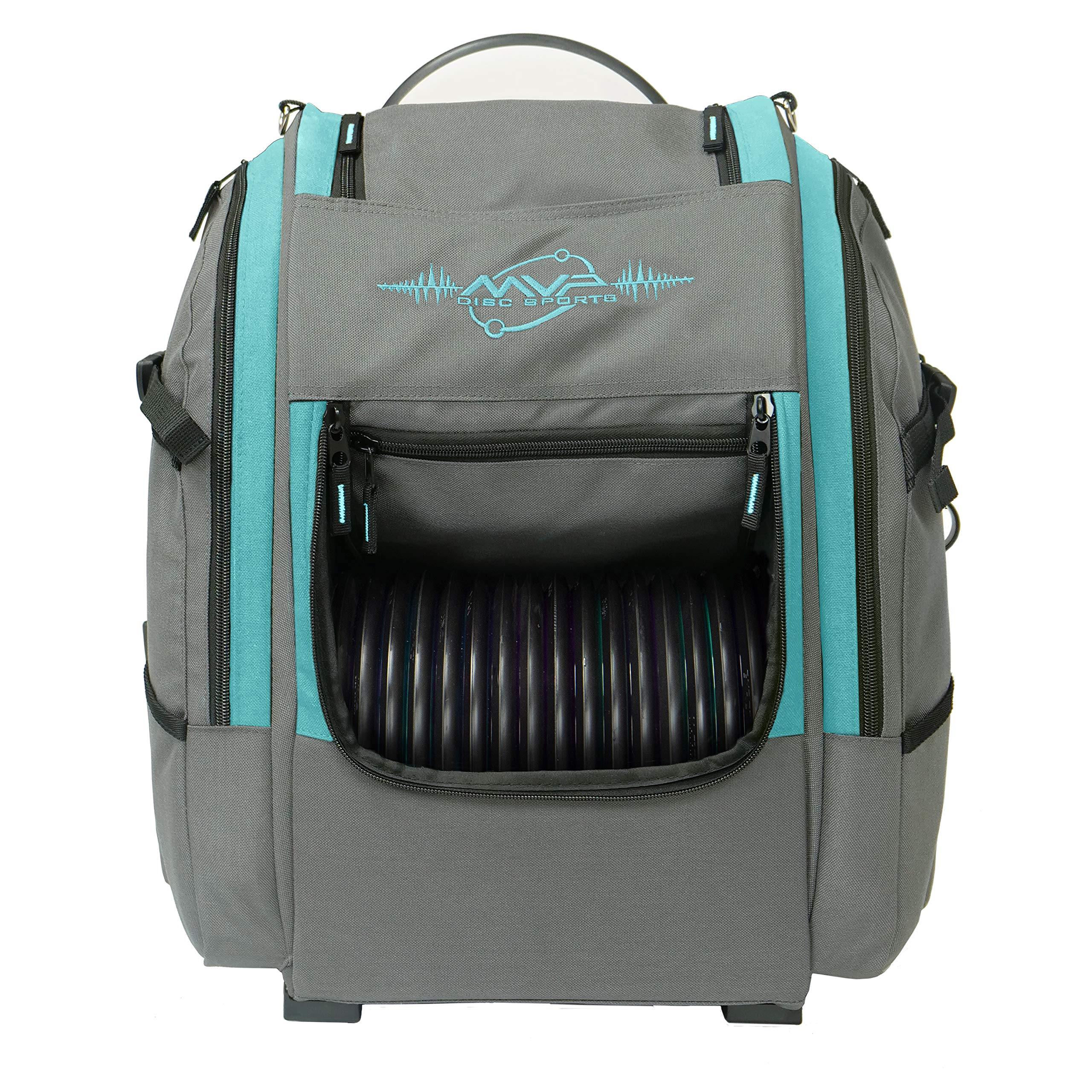 MVP Disc Sports Voyager Backpack Disc Golf Bag (Version 2) Gray/Aqua by MVP Disc Sports