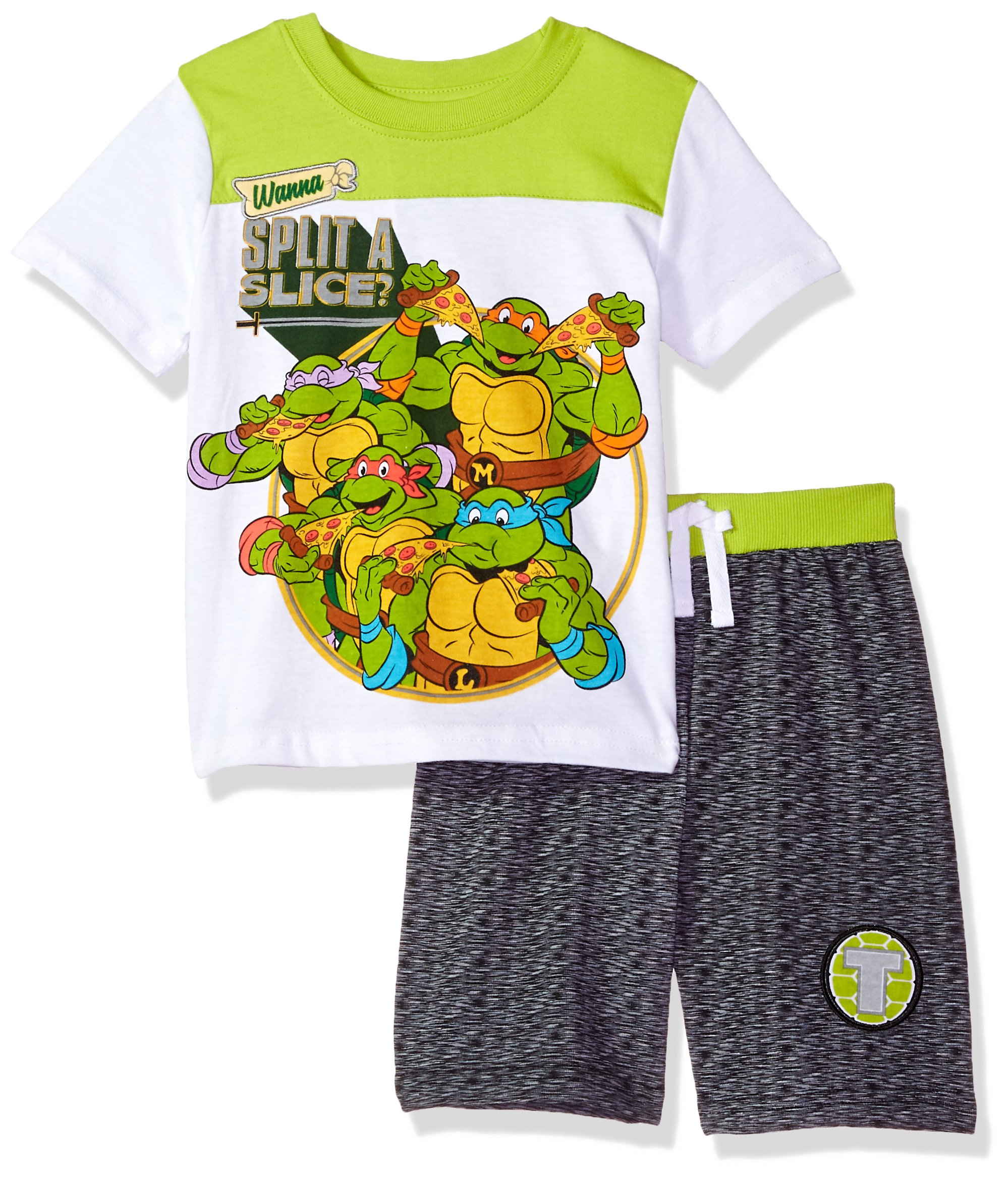 Nickelodeon Little Boys' Ninja Turtles Crew Neck Short Set, White, 5