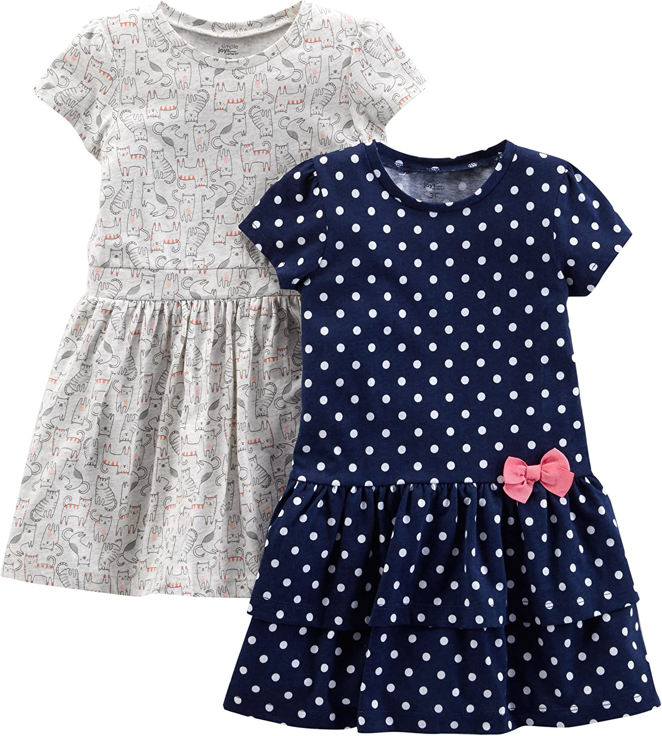 Simple Joys by Carters Baby and Toddler Girls 2-Pack Short-Sleeve and Sleeveless Dress Sets