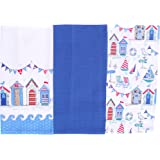 Summer Beach Holiday Deluxe Cotton Kitchen Tea Towels Set of 3