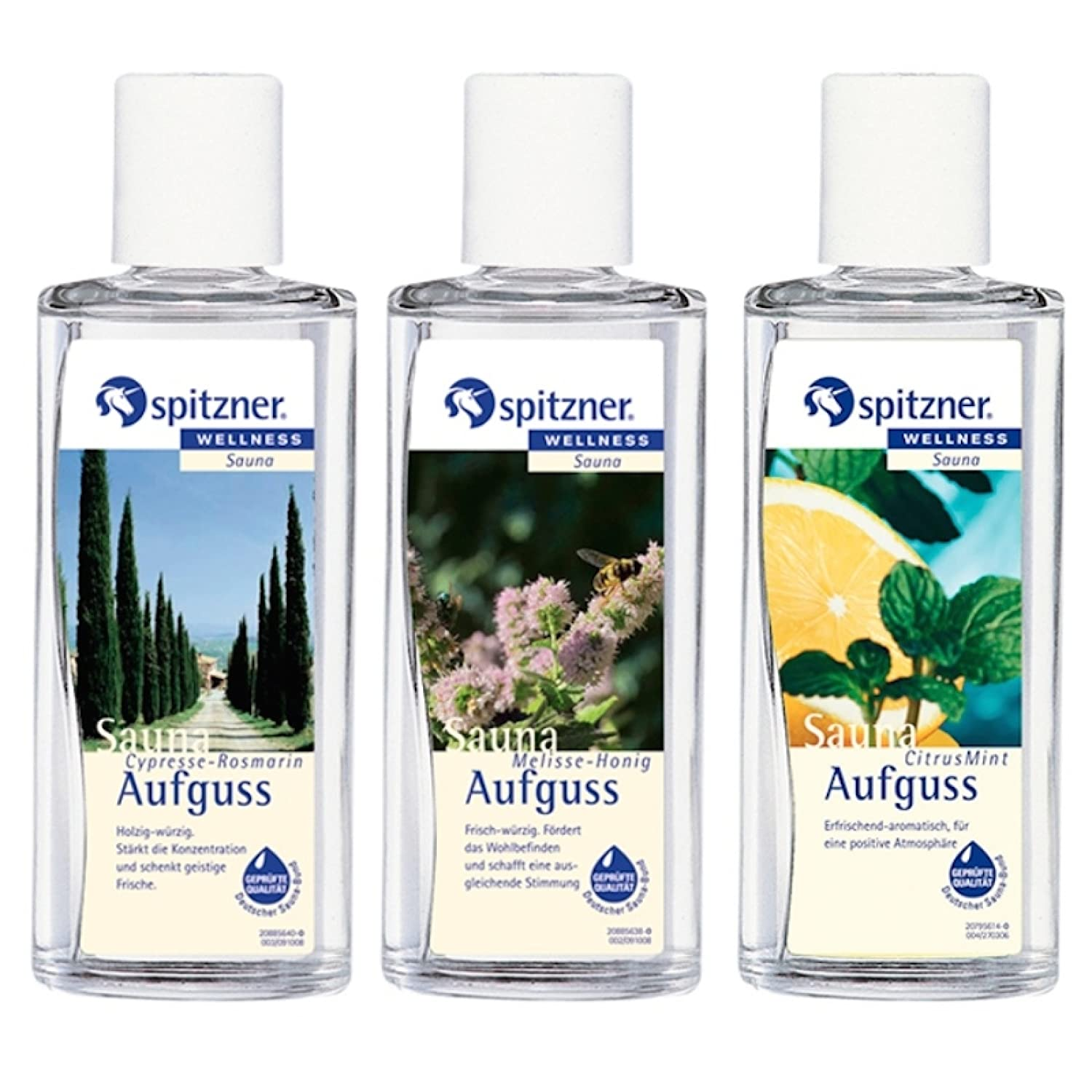 Spitzner sauna infusion, 3 fragrances, cypress-rosemary, honey-balm and citrus with 190 ml each