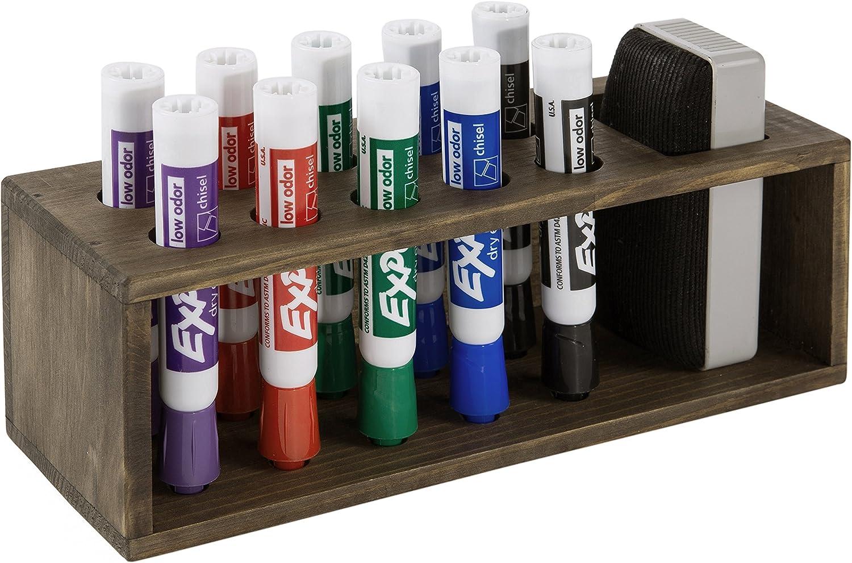 10 Slot Rustic Wood Wall Mounted Dry Erase Marker & Eraser Holder Storage Organizer, Brown