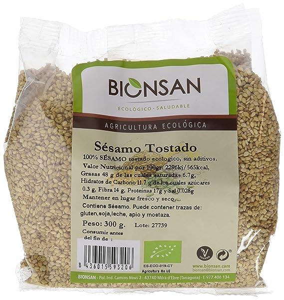 Bionsan Semillas de Sésamo Tostado Ecológicas   6 Paquetes de 300 ...