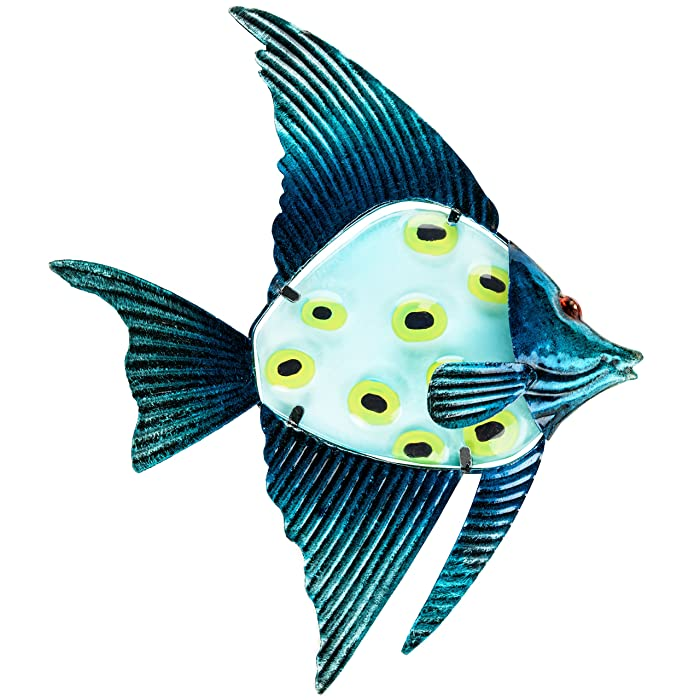 """Patio Eden - Metal and Glass Fish Wall Art - 12.5"""" - Perfect Patio Decoration - Indoor Or Outdoor Hanging Beach Decor - Easy To Hang"""
