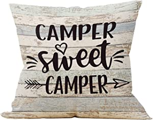 Mancheng-zi Camper Sweet Camper Throw Pillow Case, Campers Gifts, Gift to RV Campers, Camper Decor, 18 x 18 Inch Trailer Pillow Decorative Linen Cushion Cover for Sofa Couch Bed