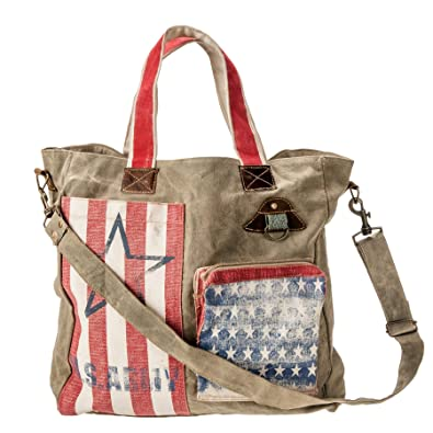 37b822c055 Amazon.com  USA Bag America Flag Vintage Washed Waxed Canvas ...