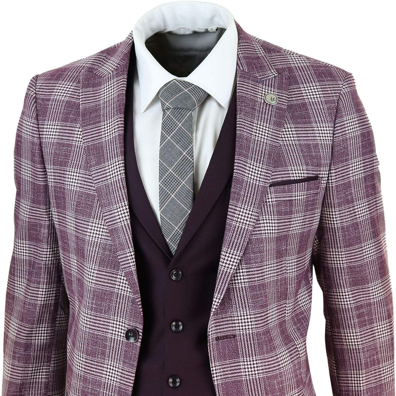 Mens 3 Piece Suit Check Herringbone Tweed Vintage Burgundy Classic Wedding Prom