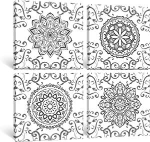 Gronda Mandala Wall Art Canvas Paintings Framed Indian Artwork Vintage Flower Prints Boho Decor for Bedroom Living Room Bathroom 12x12 Inch, 4 Panels