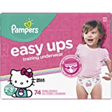 Pampers Easy Ups Pull On Disposable Training Diaper for Girls, Size 4 (2T-3T), Super Pack, 74 Count