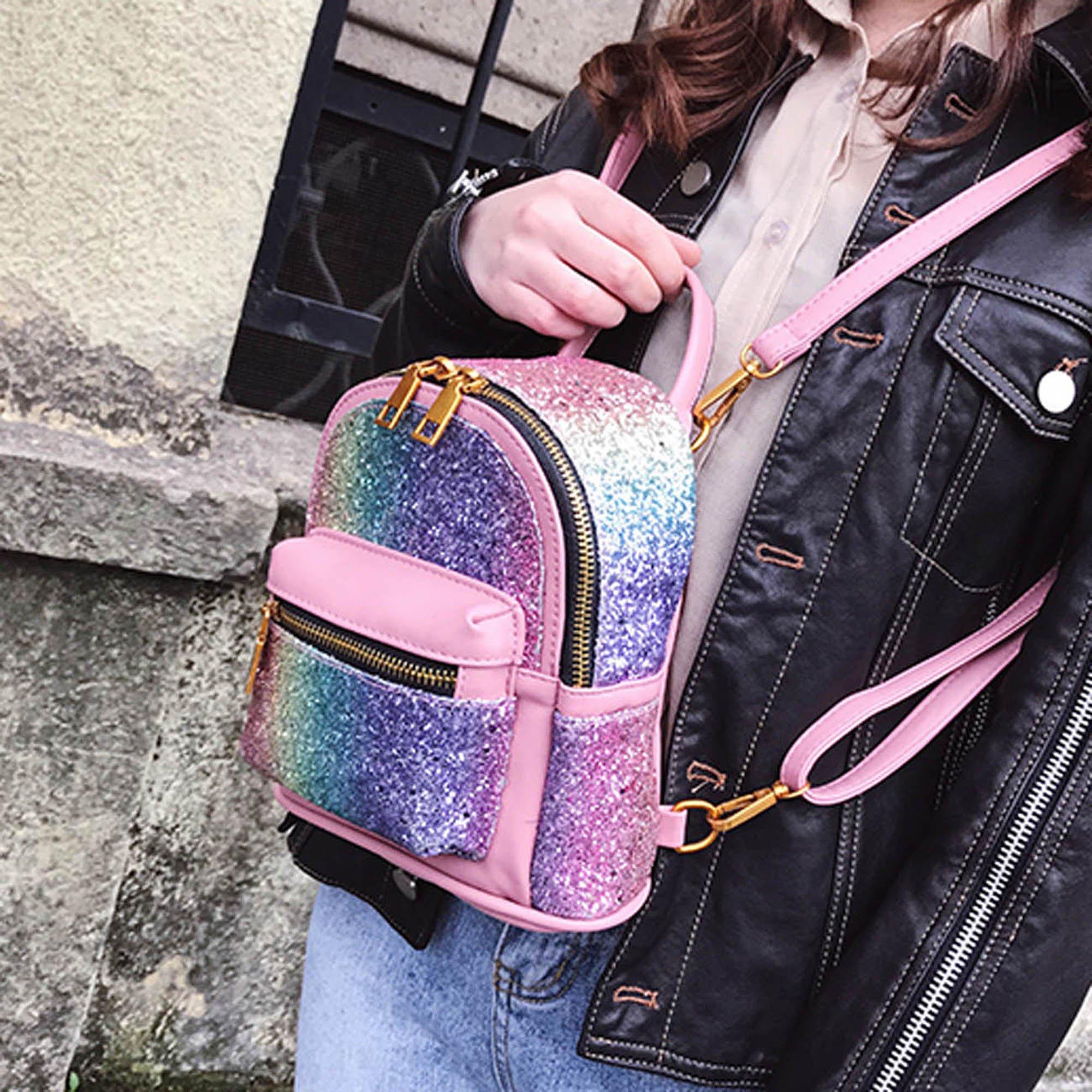 Girls Bling Mini Travel Backpack Kids Children School Bags Satchel Purses Daypack (pink rainbow) by JIANBAO (Image #6)