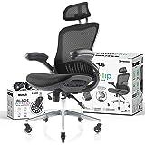 NOUHAUS Ergo Flip! Mesh Computer Chair - Black Rolling Desk Chair with Retractable Armrest and Bonus Blade Wheels…