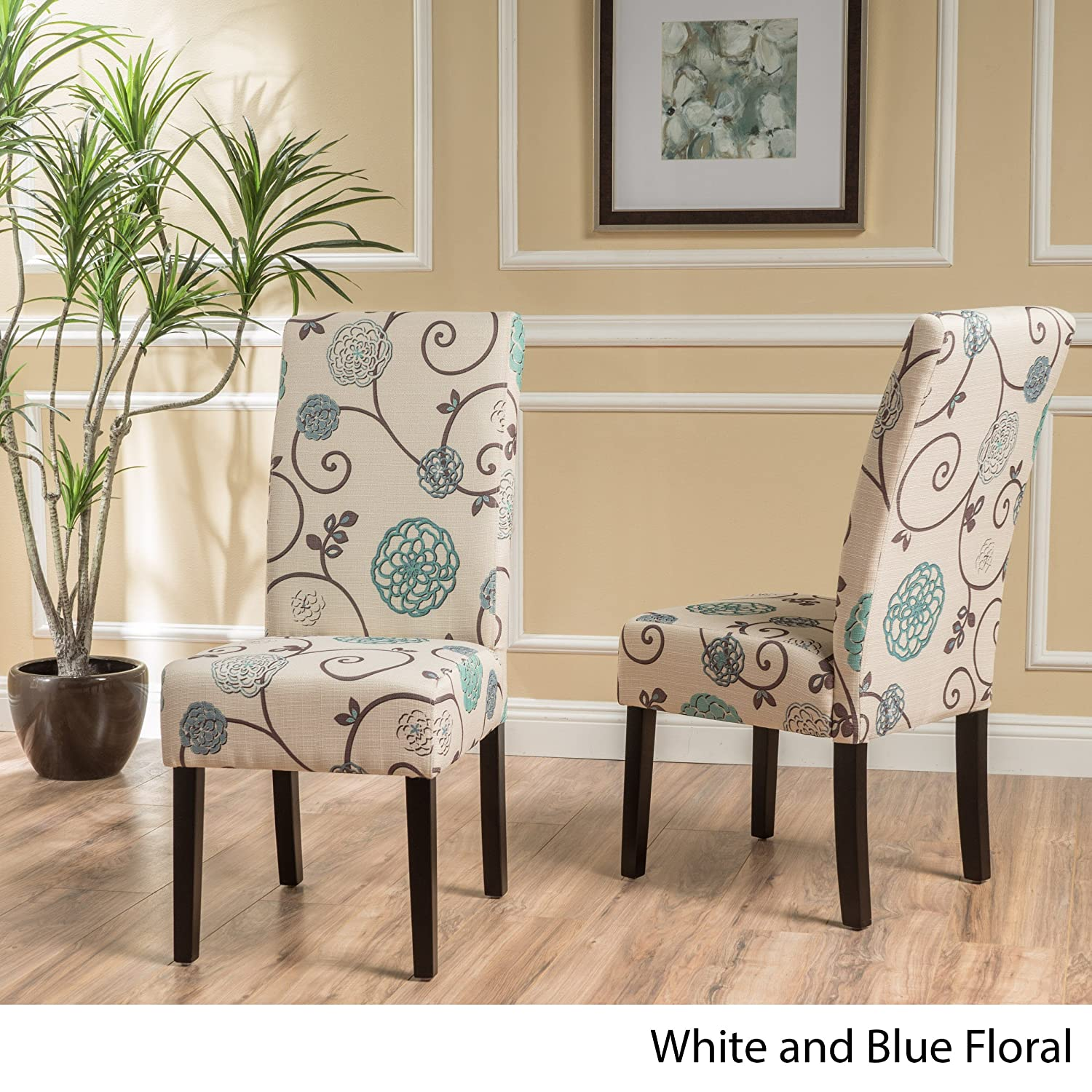 Christopher Knight Home Pertica Dining Chair Set, White Blue Floral