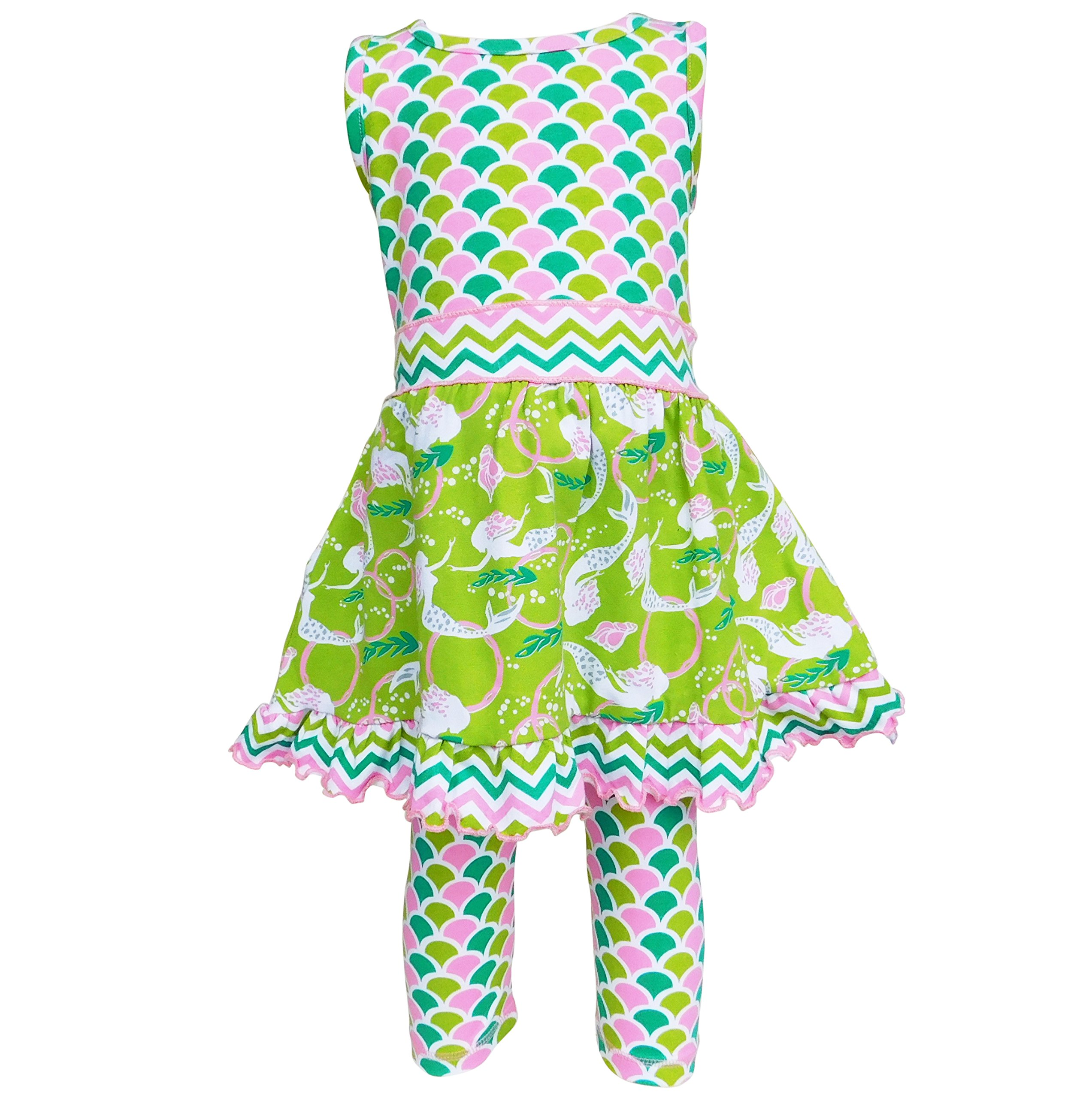 AnnLoren Girls sz 7/8 Boutique Summer Mermaids Dress and Capri Clothing Outfit
