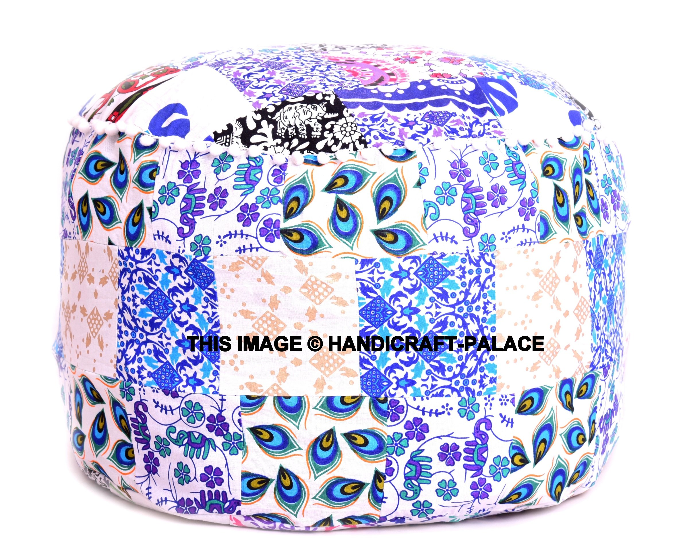 Indian Traditional Ottoman Pouf Cover Decorative Foot Stool Covers Handmade Cotton Bohemian Pouf Ottomans Round Comfortable PatchWork Floor Cushion 24'' X 14'' inch By Handicraft-Palace