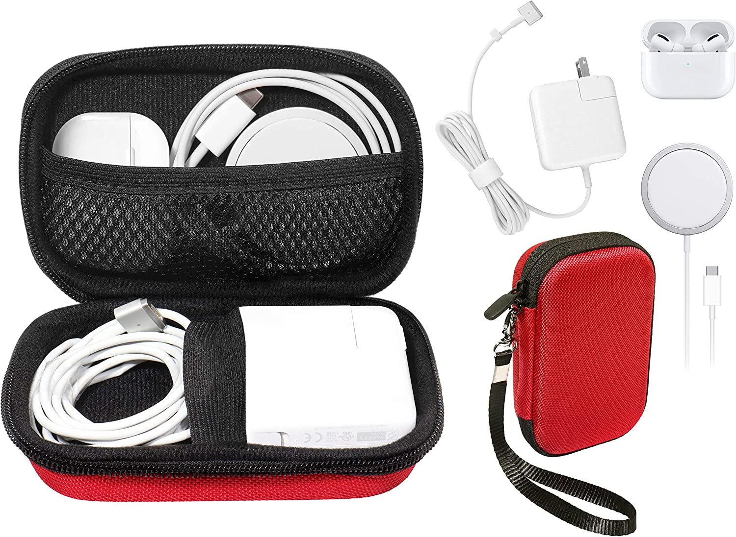 Handy Case for MacBook Pro, Air Power Adapter, MagSafe, MagSafe2, iPhone 12/12 Pro MagSafe Charger, USB C Hub, Type C Hub, USB Multi Ports Type c hub, Detachable Wrist Strap, mesh Pocket (Red)