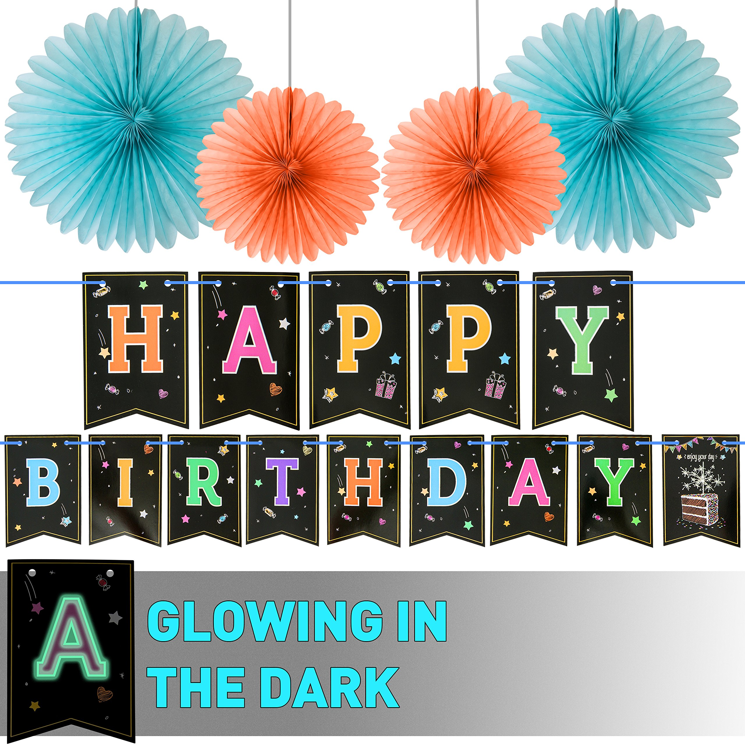LIDERSTAR Happy Birthday Banner With 4 Fans,Glow In The Dark UV Party Decoration .Happy Birthday Glowing bunting Carnival/Kids Party Supplies Favors Colors Hanging Decoration
