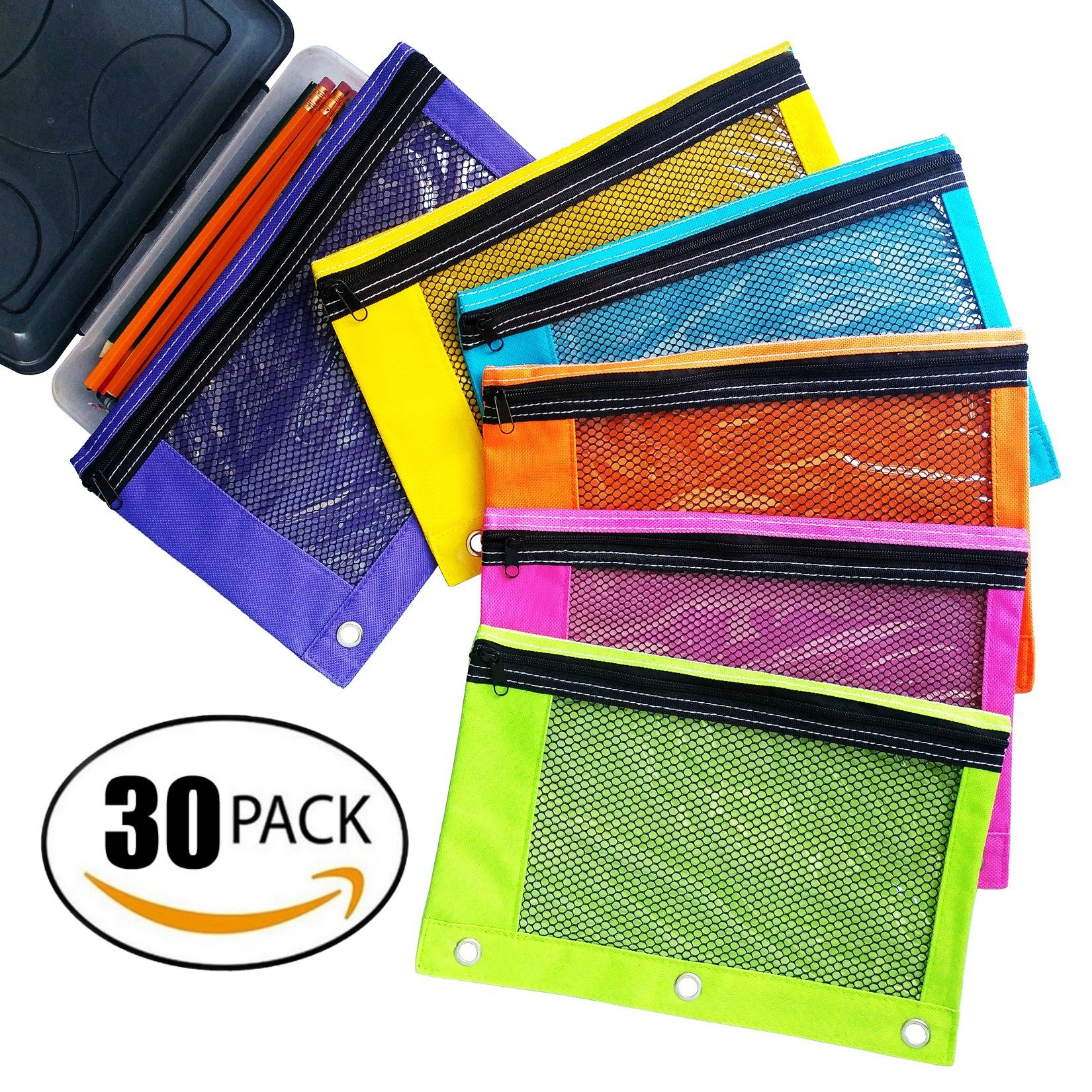 Zippered Pencil Pouches by School Smarts - 3 Ring Pencil Case with Mesh and plastic window. Huge 30 Pack with a Variation of 6 Bright Colors.