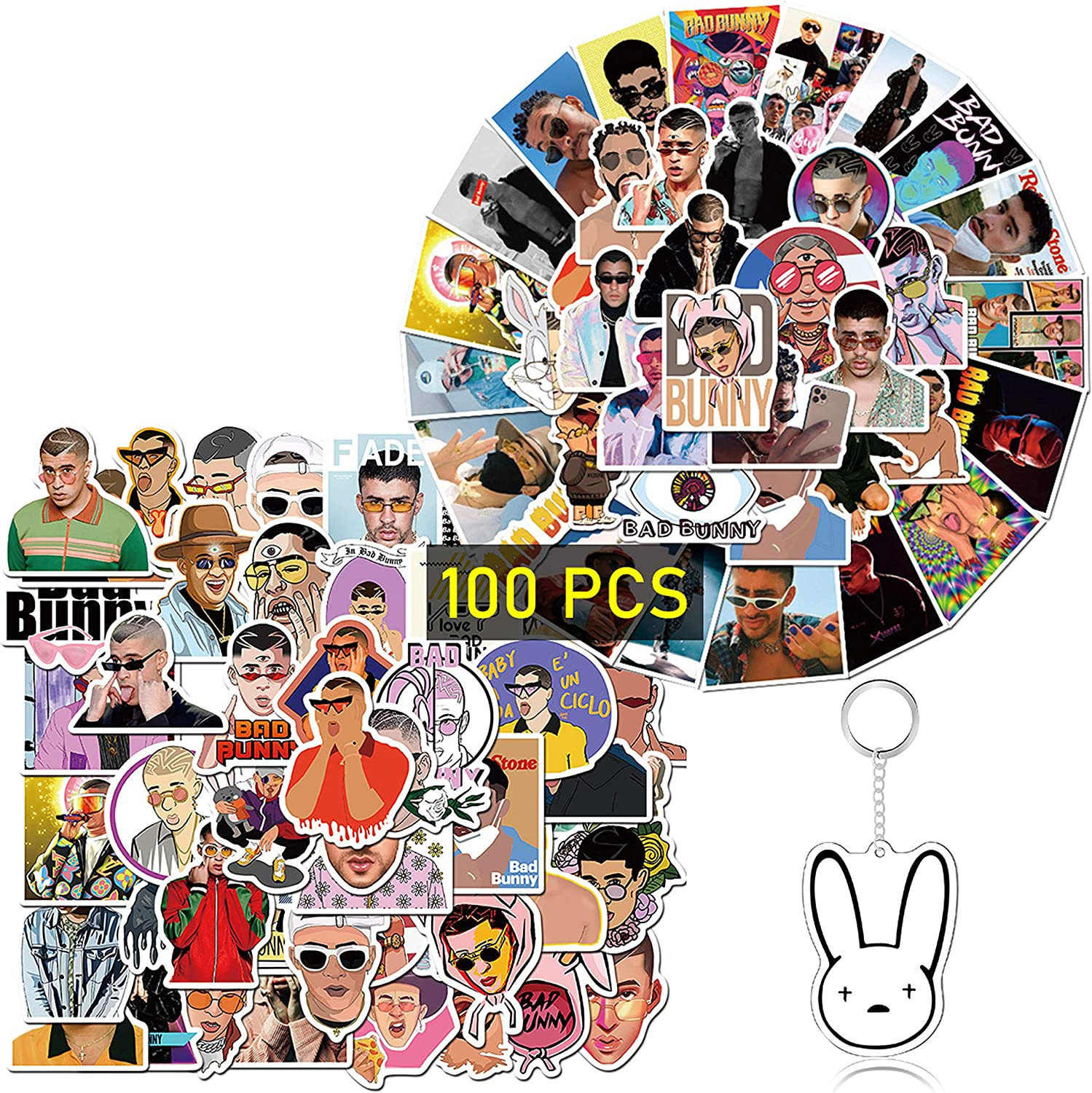Kilmila Pop Singer Bad Bunny Stickers [100PCS] Music Film Vinyl Skateboard Guitar Travel Case Sticker Door Laptop Luggage Car Bike Bicycle Stickers(with Bunny Rabbit Keychain)