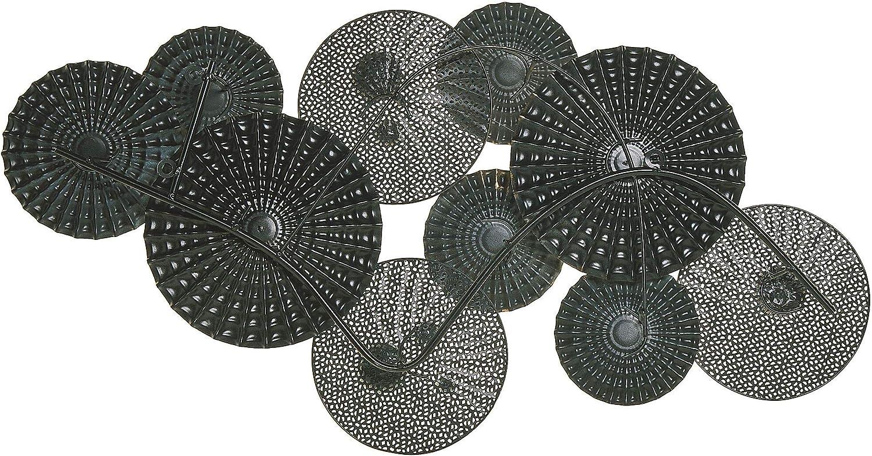 Moderne Wanddekoration Kreisform Metall 90 x 6 x 48 Blau//Beige Hassium