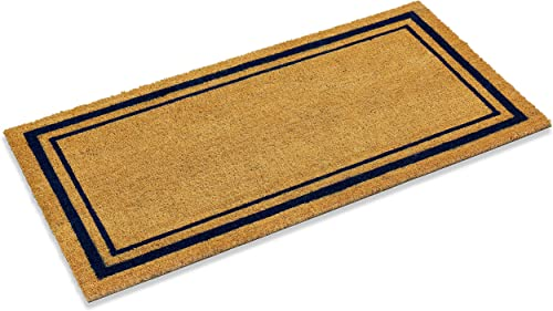 Kempf Double Border Large Coco Coir Mat, Rubber Vinyl Backing, Great for Double Doors, Indoor Outdoor Entrance Rug, 24 x 60-Inch, Blue