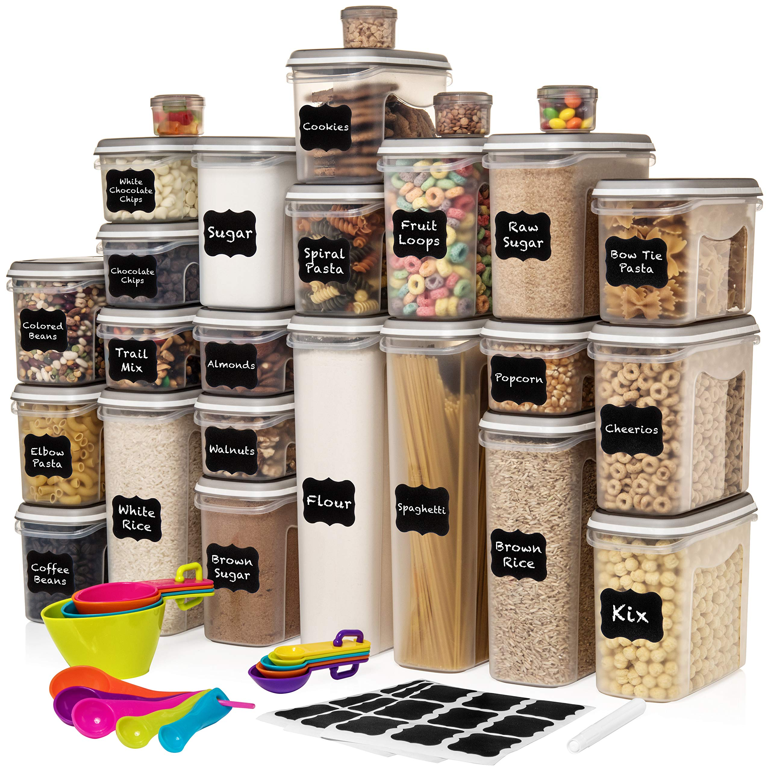LARGEST Set of 52 Pc Food Storage Containers (26 Container Set) Shazo Airtight Dry Food Space Saver w Interchangeable Lid, 14 Measuring Cups + Spoons, Chalkboard Labels + Marker - One Lid Fits All