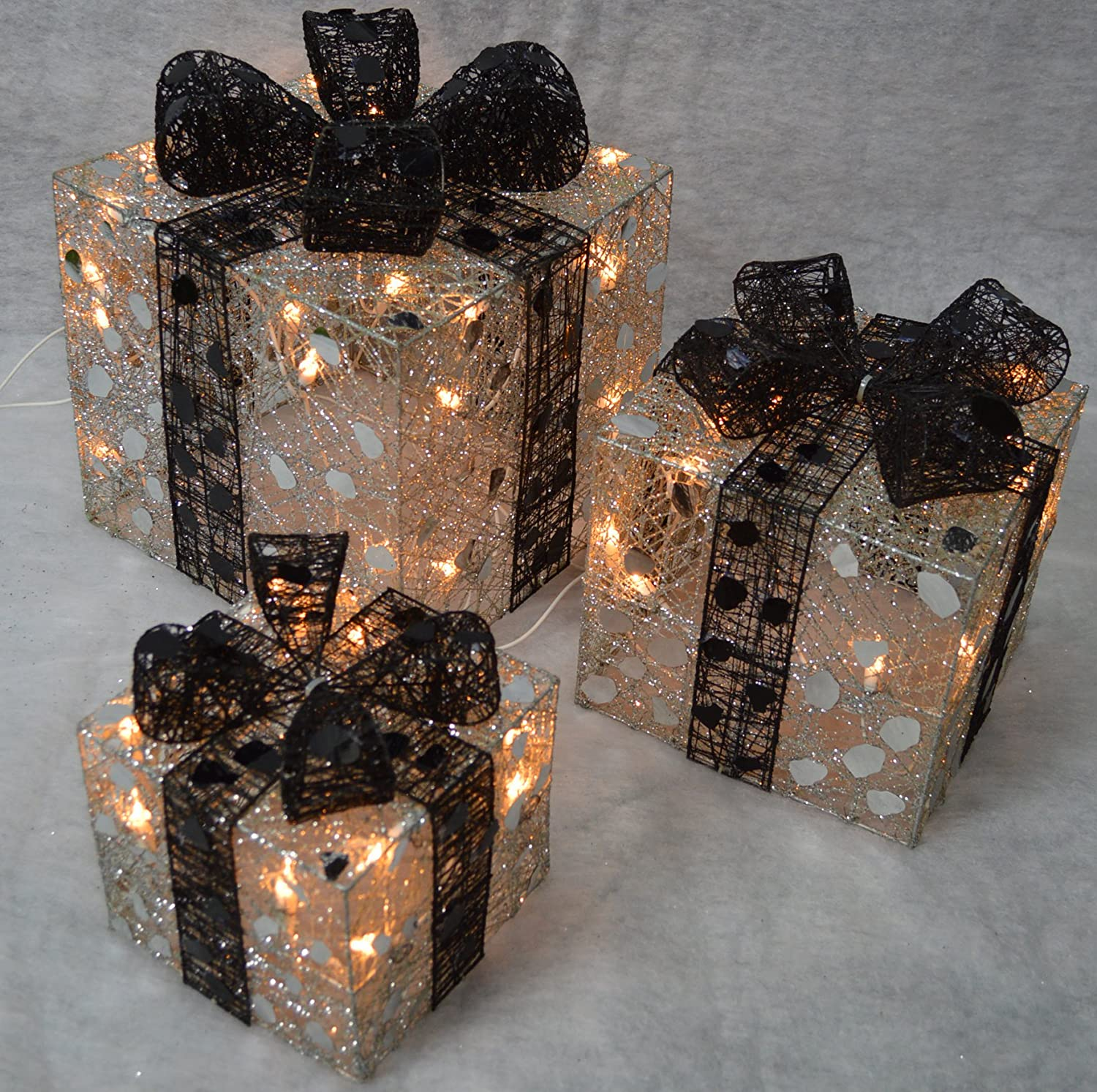 3 Lit Silver Parcels - Black Bows - Premier Christmas Decorations LI112042S