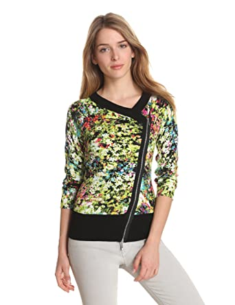 aeb8144e992 Evolution by Cyrus Women s 3 4 Sleeve Asymmetric Exposed Zipper Print Cardigan  Sweater