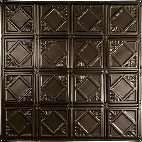 Amazon Com Great Lakes Tin Ludington Bronze Burst Nail Up Ceiling Tiles Package Of Five 2ft X 2ft Panels Choose From 11 Styles Perfect For Diy And Home Renovation Projects