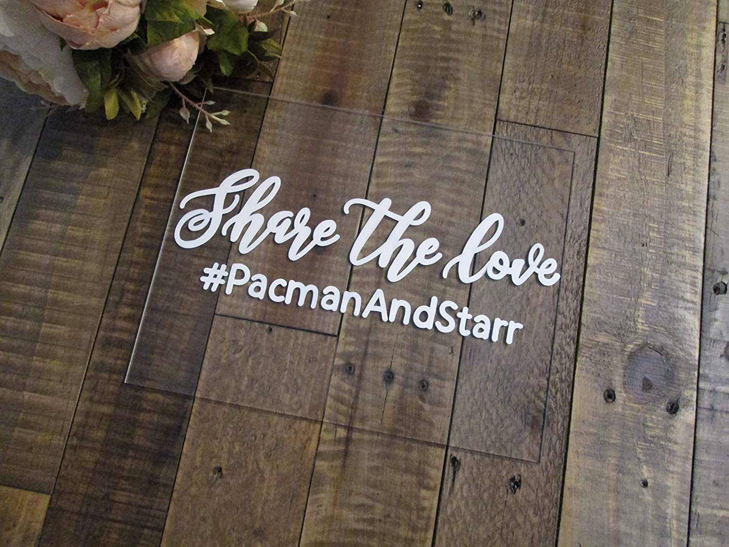 hand painted acrylic wedding sign with stand bridal shower or engagement party decor rustic modern wedding decor capture the love instagram wedding decor Wedding hashtag share the love sign