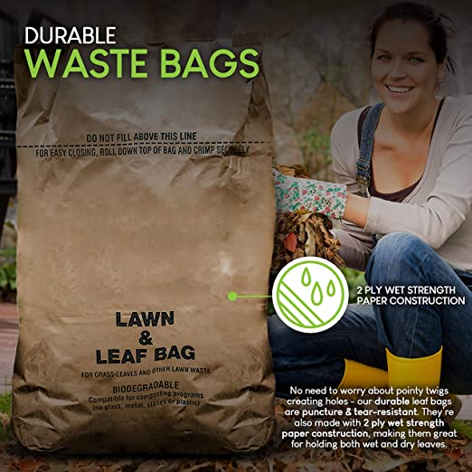Self Standing Lawn and Leaf Refuse Bags Made in USA 10 100/% Biodegradable 30 Gallon 2 Ply Wet Strength Brown Kraft Paper