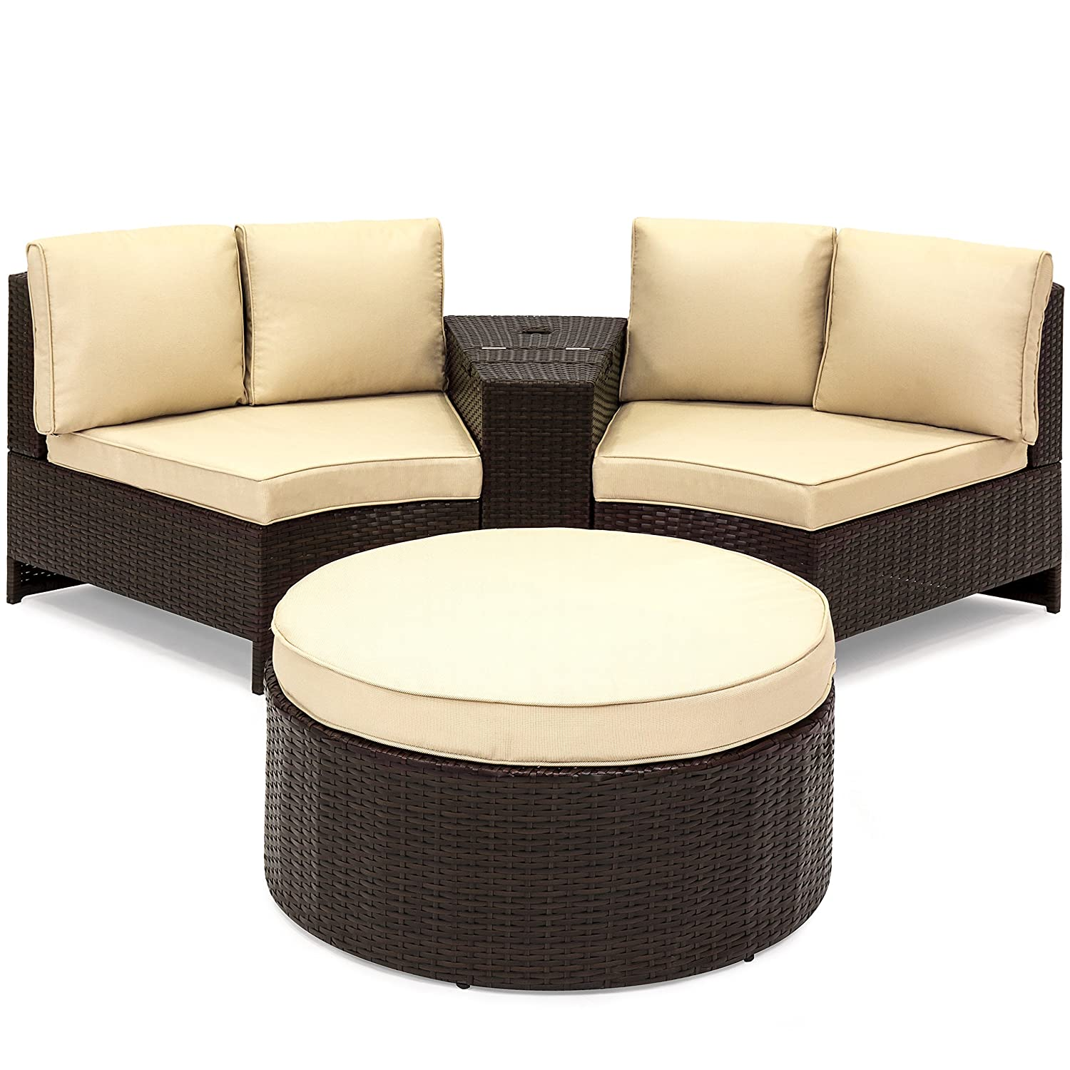 Tan and Brown Best Choice Products Wicker Curved Corner Patio Sectional Set with Cushions and Round Ottoman Table