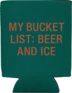 My Bucket List: Beer And Ice Teal 4 x 5 Neoprene Beverage Sleeve