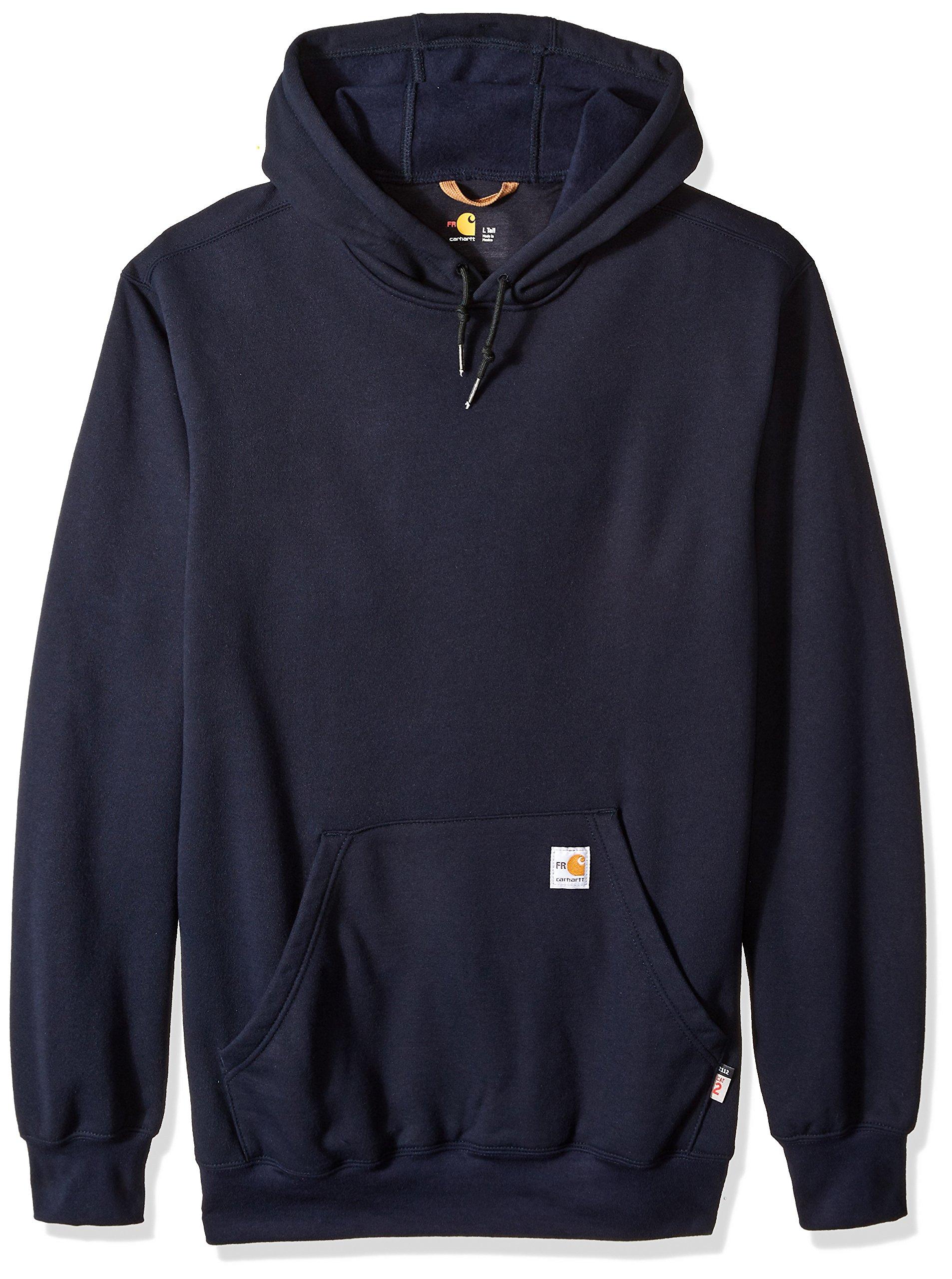 Carhartt Men's Big Big & Tall Flame Resistant Heavyweight Hooded Sweatshirt, Dark Navy, X-Large/Tall
