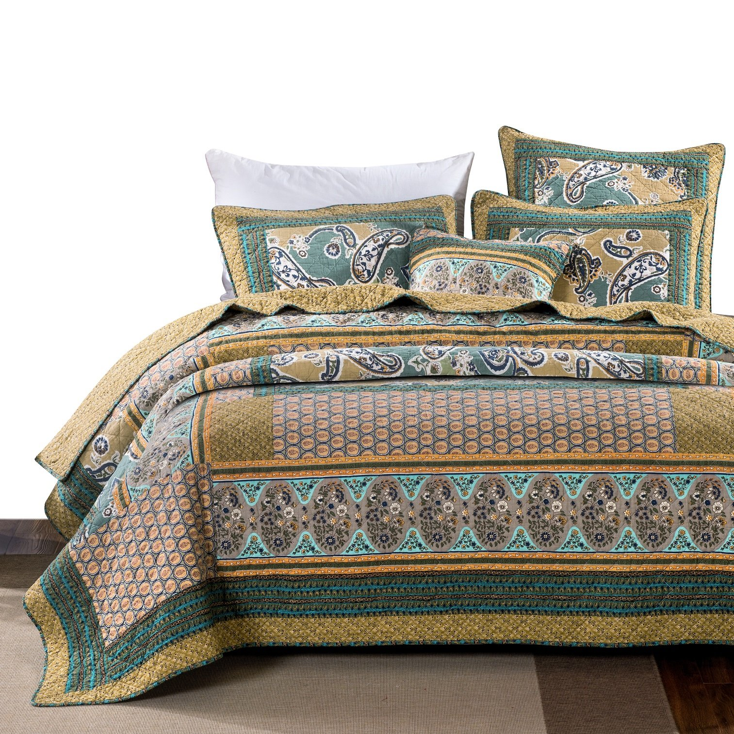 DaDa Bedding Bohemian Paisley Quilt - Green Tea Dreams Bedspread Set - Cotton Patchwork Floral Bright Vibrant - Multi Colorful Yellow Blue Olive - King - 3-Pieces